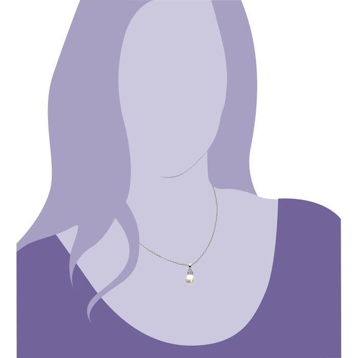 Argent sterling zircon et perles deau douce de longueur 45,7 cm 1Z8P0R