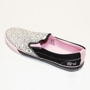 Slip on gothique, rock, emo DRAVEN SKULLENTINE Black pink