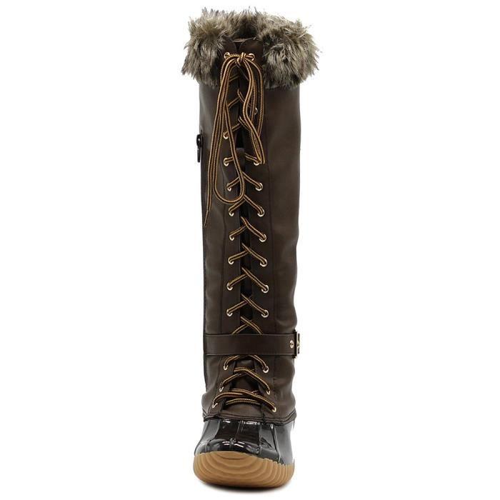 Genou chaussures lacées haut fausse fourrure Bottes de canard Buckled BZU70 Taille-42