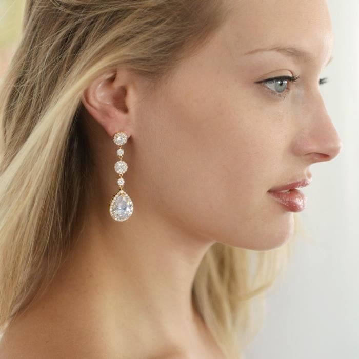 Womens Cubic Zirconia Pear-shaped Teardrop Dangle Pierced Or Clip On Earrings For Brides And Weddi RD8H4