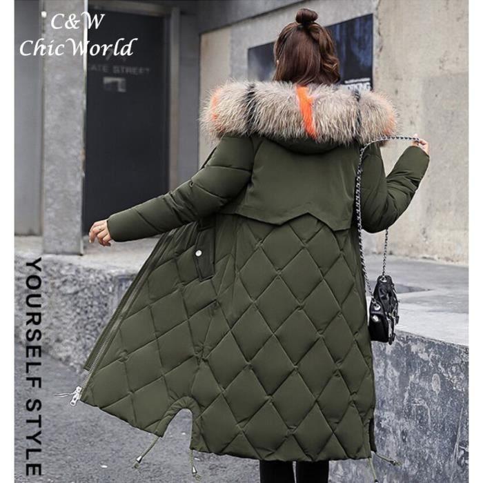Personnalité Épaissir Vert De Capuche Blouson Femme Mode D'hiver Taille Col Avec Doudoune Fourrure Manteau Longue Grande ZOkiTPXu