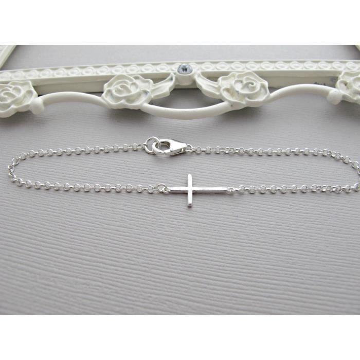 Taille des femmes 7.0 Argent Sideways Croix Bracelet, Croix dArgent Bracelet, Sideways Croix Bracelet, Si TTENW