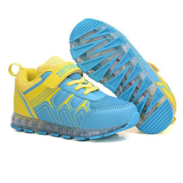 Cool Sneakers LED Chargement USB 7 Couleur Chaussures de Sports Maille Respirant Baskets Lumineux Chaussures Enfants Lumière
