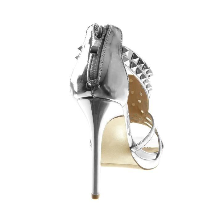 Angkorly - Chaussure Mode Escarpin Sandale stiletto salomés femme clouté verni multi-bride Talon haut aiguille 10.5 CM - Argent -