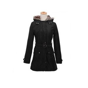 MANTEAU - CABAN Manteau femme long à capuche avec ceinture à nouer 74835b06d40