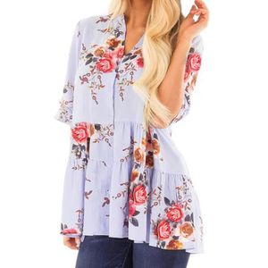CHEMISIER - BLOUSE Femmes manches courtes Floral Flare Summer Casual ... 1382e3e405f