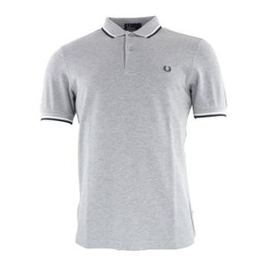 POLO Polo Fred Perry M3600 420 Gris Col Blanc et Noir.