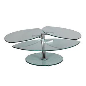 TABLE BASSE Table basse articulée Acier/Verre - GLASS n°3 - L