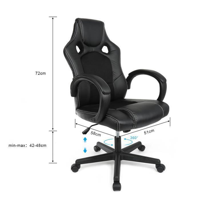 BureauFauteuil Sport Noir Chaise De Gamer W92IDEHY