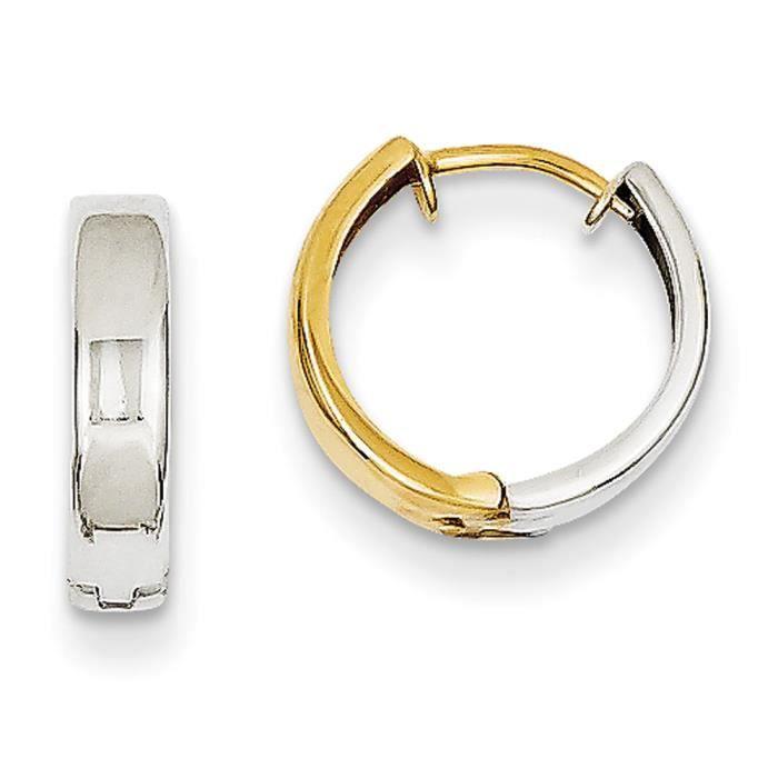 14 carats-Bicolore-Boucles doreilles anneaux à charnière