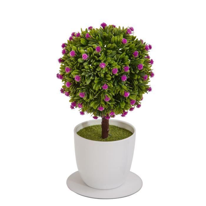 arbre boule de buis artificiel fleuri fuchsia en pot. Black Bedroom Furniture Sets. Home Design Ideas