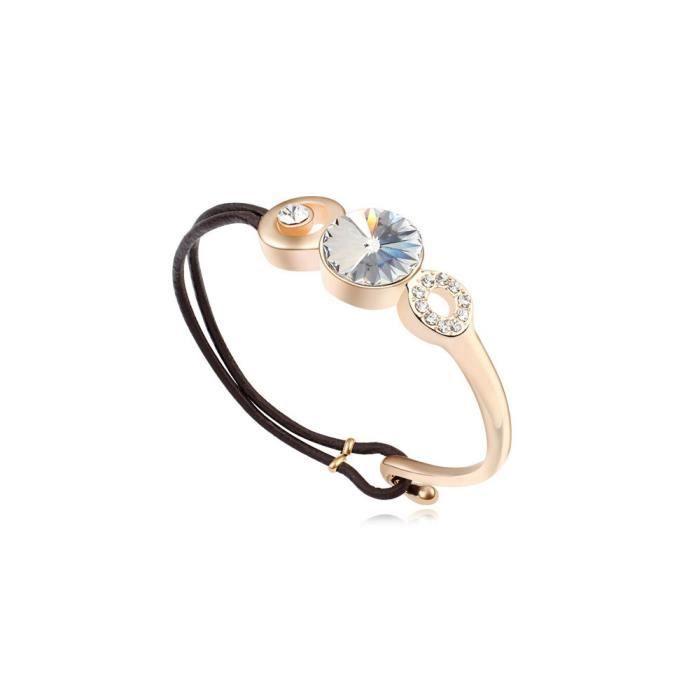 Bracelet Cuir et Cristal de Swarovski Elements Blanc