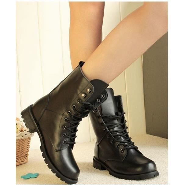 8 -la Cheville Contre La Faible Talon De Chaussures À Lacets Punk Gothique Court Bottes Plates.