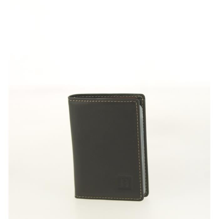 Hexagona Porte cartes en cuir - 3 cartes Noir h3zPhBL6lI