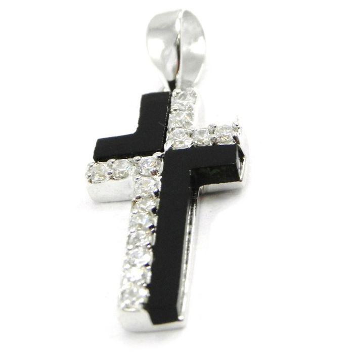 Pendentif Argent Croix Pureté noir blanc