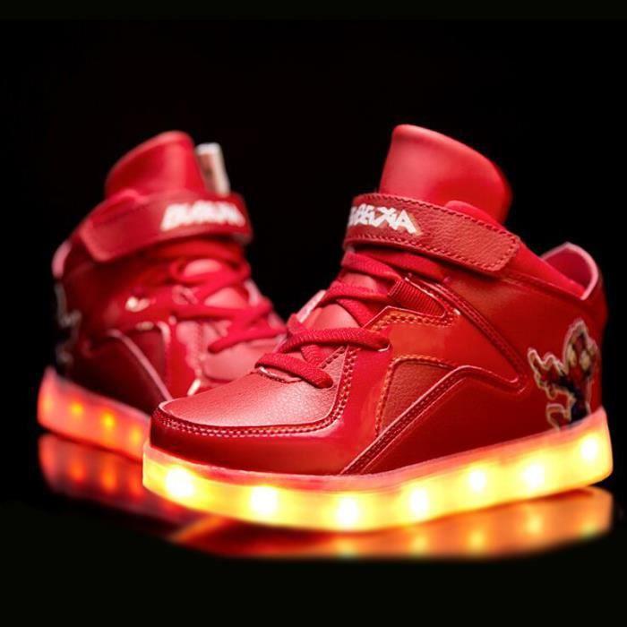 Mode enfants 7 Couleu Chaussures LED Lumineux Chaussures de Sports Baskets Garcon Fille Chaussures Sports Baskets Doré We574
