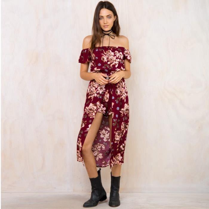nouveaux prix plus bas San Francisco vente la moins chère Robe Longue Combinaison Pantalon en tissu à imprimé fleur sans epaules Pour  Femme Bohême Vintage Rouge S M L XL
