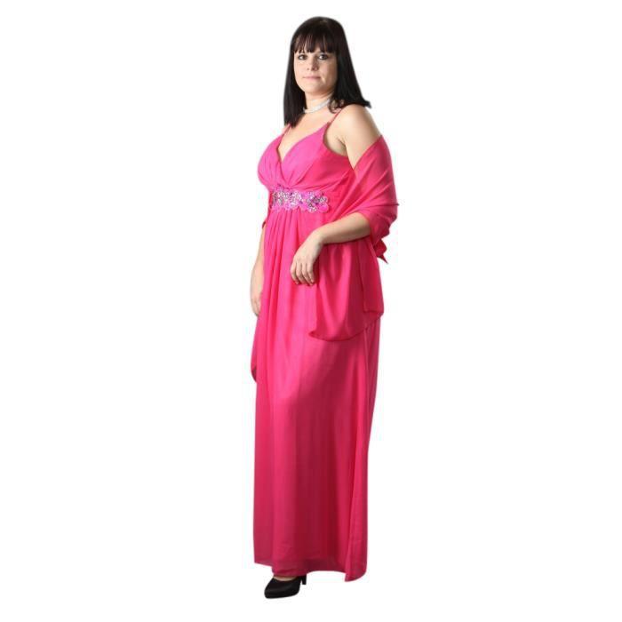 Robe de soirée grande taille GAYNOR + étole - Rose fushia - 44-46 ... 4ac6f9c2a71