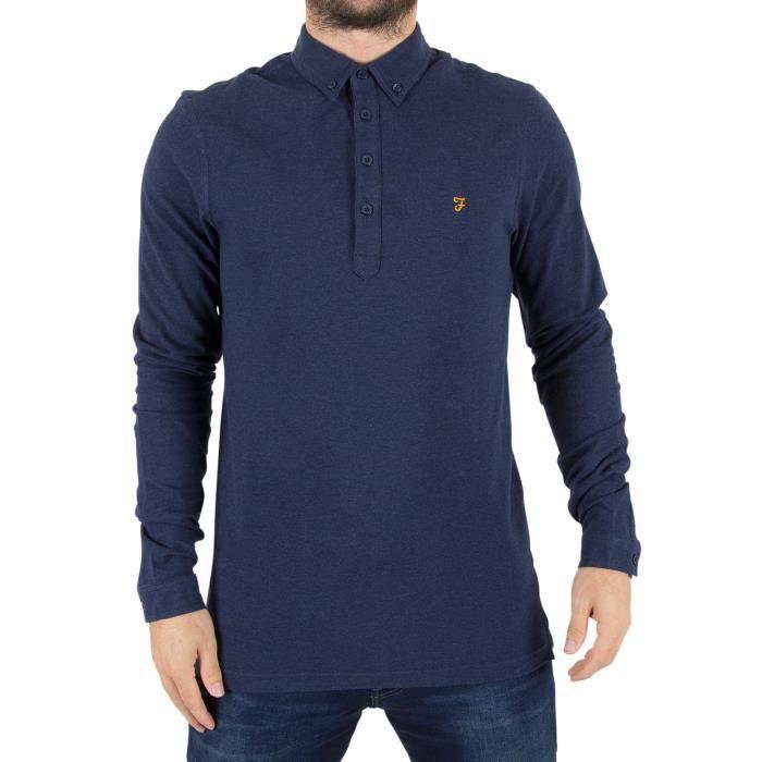 Farah Vintage Homme Polo à manches longues Merriweather Logo Polo, Bleu