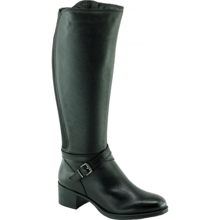 HIBOU - Bottes cavalières talons épais et brides déco marque Angelina chaussures Femme fabriquée en Espagne cuir noir