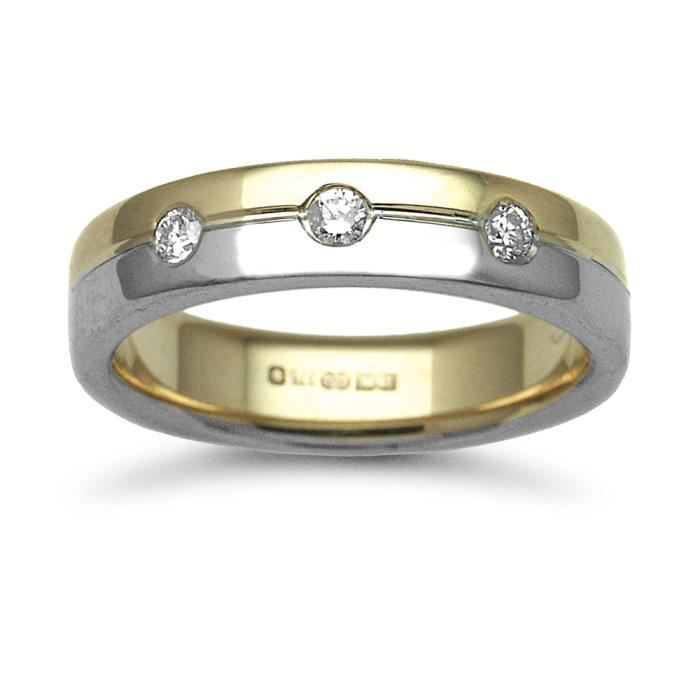 Jewelco London Or 2 couleurs 18k 0.15ct Diamant mariage bague 5mm