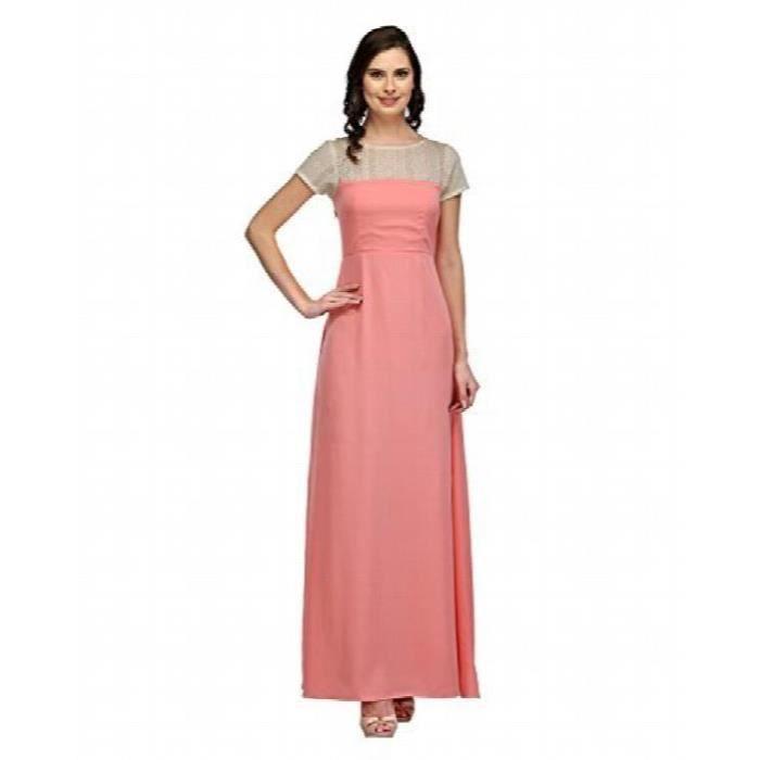 La moitié robe manches Crêpe de femmes (bébé rose) AL7I5 Taille-32