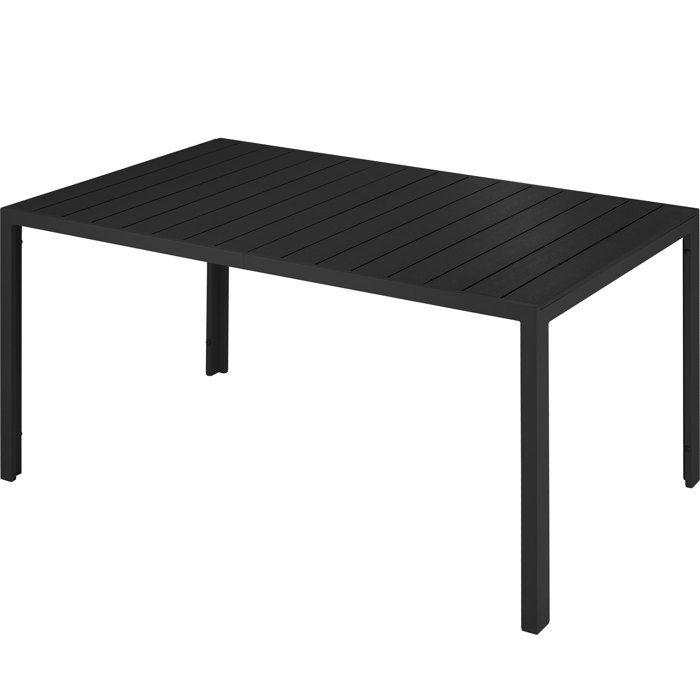 TECTAKE Table de Jardin Extérieure design Pieds réglables Cadre en  Aluminium 150 cm x 90 cm x 74,5 cm Noir