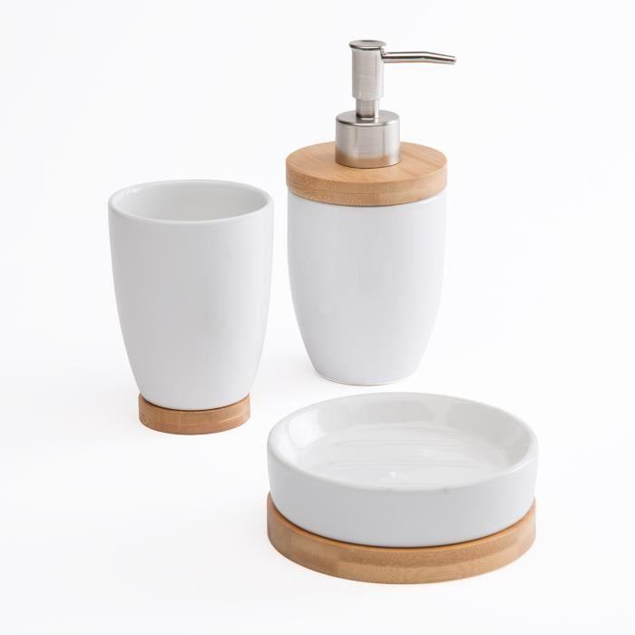 set de 3 accessoires de salle de bain c ramique et bois style scandinave blanc achat vente. Black Bedroom Furniture Sets. Home Design Ideas