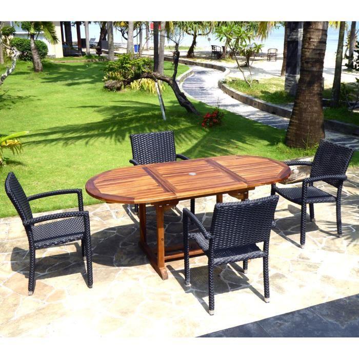 Table et chaise de jardin en resine avec rallonge - Achat ...