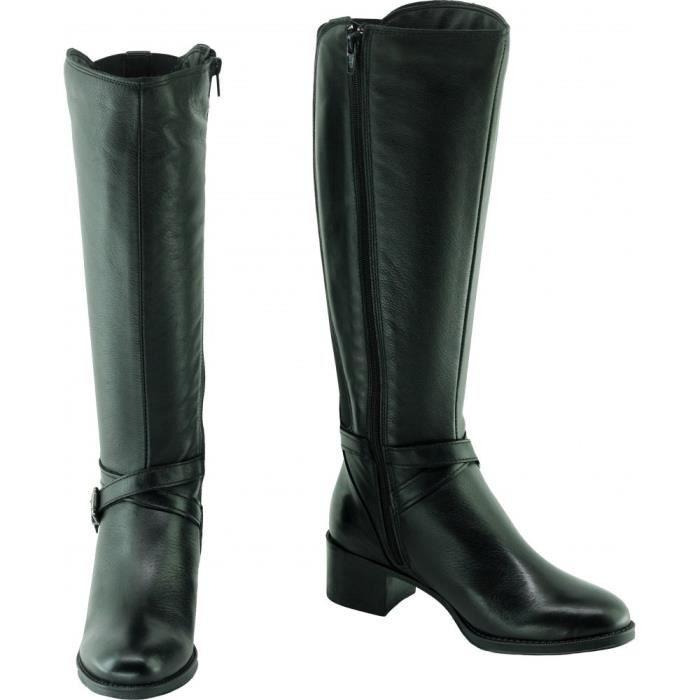 épais brides Femme HIBOU cavalières Angelina chaussures déco cuir Bottes Espagne marque talons et fabriquée en noir RxRtq4nX