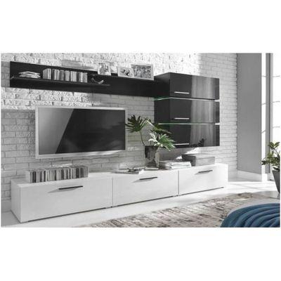 Meuble De Salon Meuble Tv Design Complet Ergos Corps Blancs Et