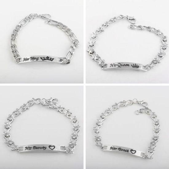 comment chercher grande remise de 2019 date de sortie Bracelet couple alphabet Fashion - Couronne B88-2