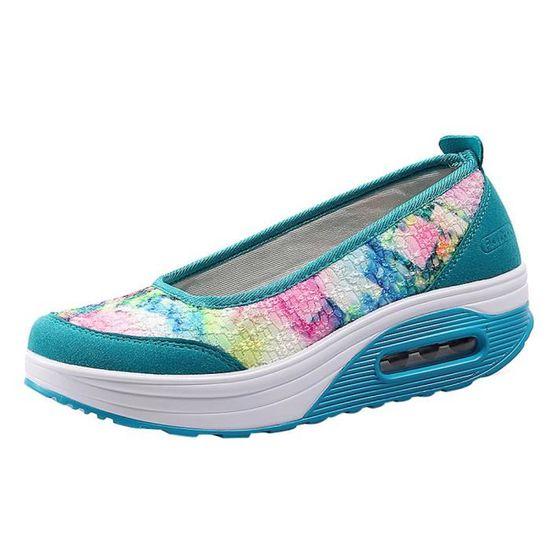 Lafayestore®Chaussures en cuir pour femmes Chaussures de mode Slip On Leisure Chaussures paresseuses Sandales confortables@blanc  Bleu ciel - Achat / Vente slip-on