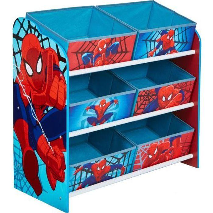 SPIDERMAN - Meuble de rangement pour chambre d'enfant avec 6 bacs