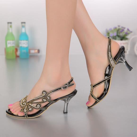 Nouveau strass clouté bohême minces sandales à talons hauts sandales mariée mariage oNM9v8