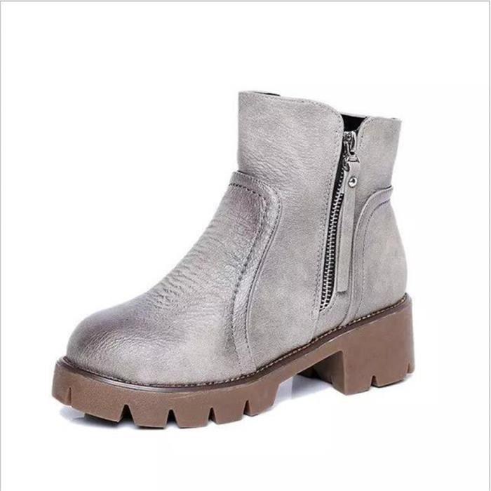 Bottines Femmes Automne Hiver talon épais en cuir bottes DTG-XZ019Gris39