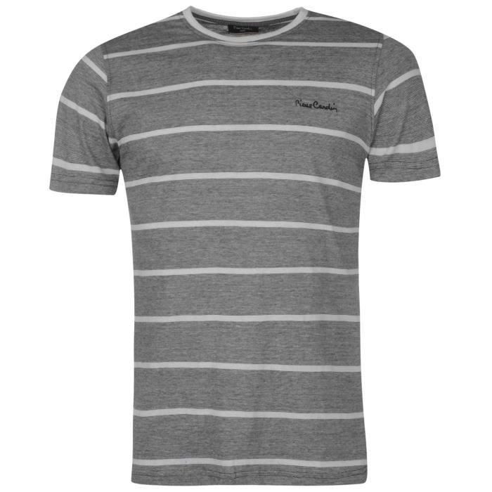 f118c43e44206 Pierre Cardin Homme T-Shirt Col Rond Manche Courte Noir Noir  blanc ...