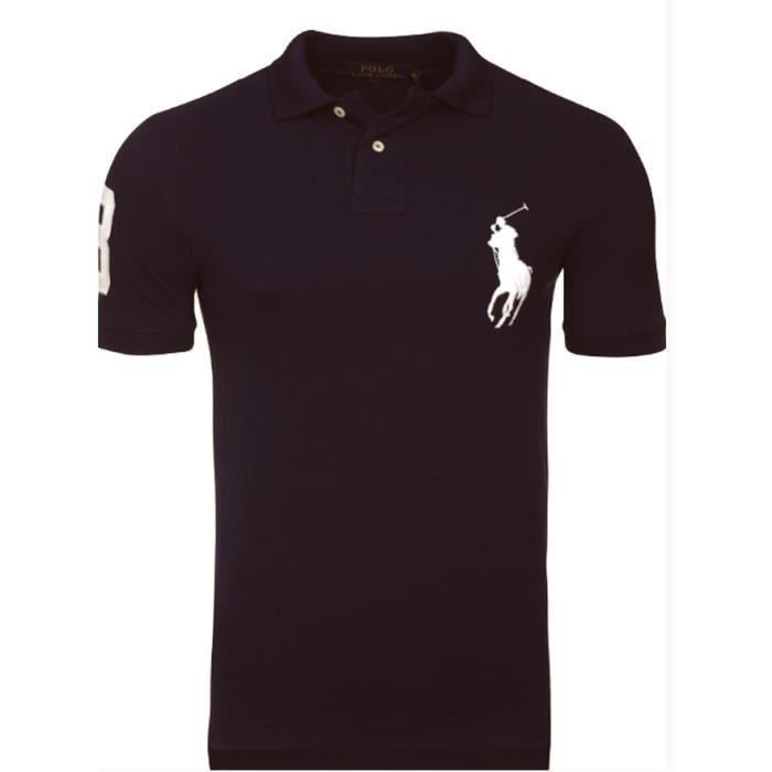Polo Ralph Lauren Homme noir Slim fit Noir Noir - Achat   Vente polo ... 37d05b93550c
