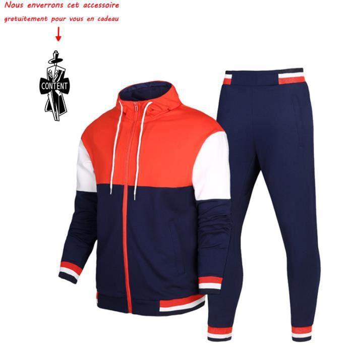 8c113934c363 (Veste+Pantalon) Survêtement Homme 2 Pièces Ensemble à Manches Longues  Garçon Jogging Vêtements Sport VêTement Masculin
