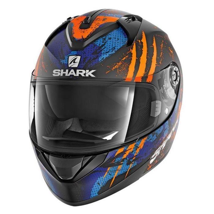 175bd1070097f Casque moto Shark Ridill Threezy Matt Noir Orange Bleu - Achat ...