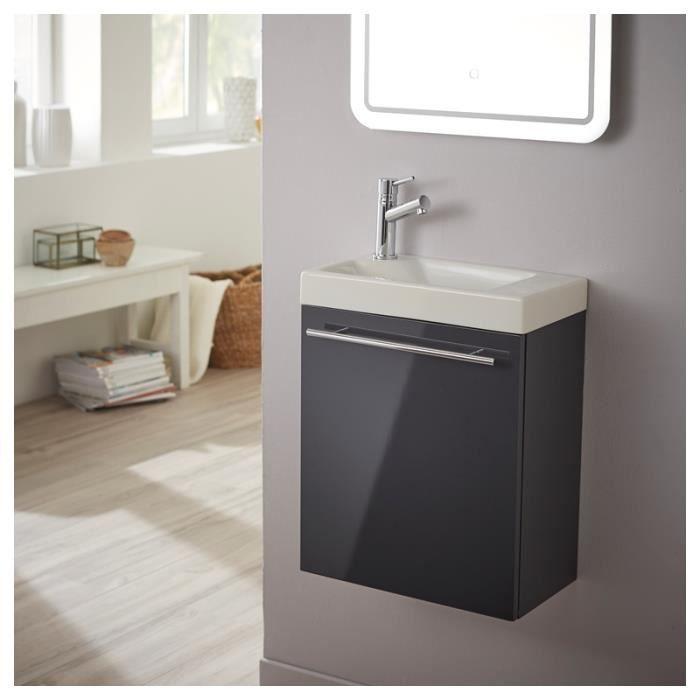 Pack meuble lave mains gris anthracite laqu brillant achat vente robinet - Meuble lave mains ikea ...