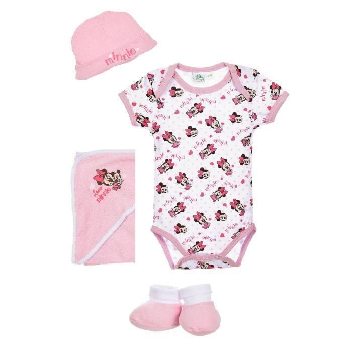 MINNIE Set de naissance bébé bébé cape, body, bonnet, chausson rose - Fille 00d5531b4eb
