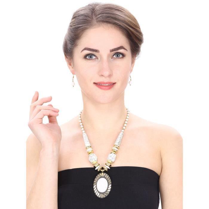 DESIGNER FEMME main de mode perles blanches collier avec boucles doreilles pourC33MV