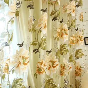 RIDEAU Accueil Textile Fleur Tissu Chinois Brodé Tulle Sh