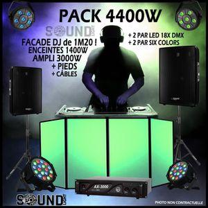 PACK SONO PACK SONO 4400W + FACADE DJ + 4 PROJECTEURS JEU DE