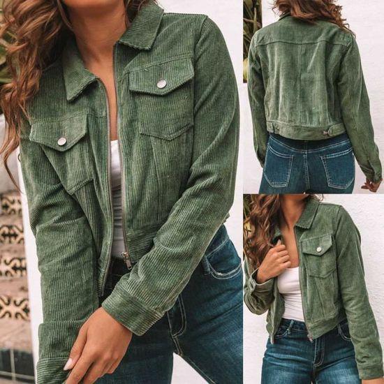 En De Manches La Velours Gardez Longues Vert Court Manteau Chaud Côtelé Mode Hiver Poche Femmes AqERPR