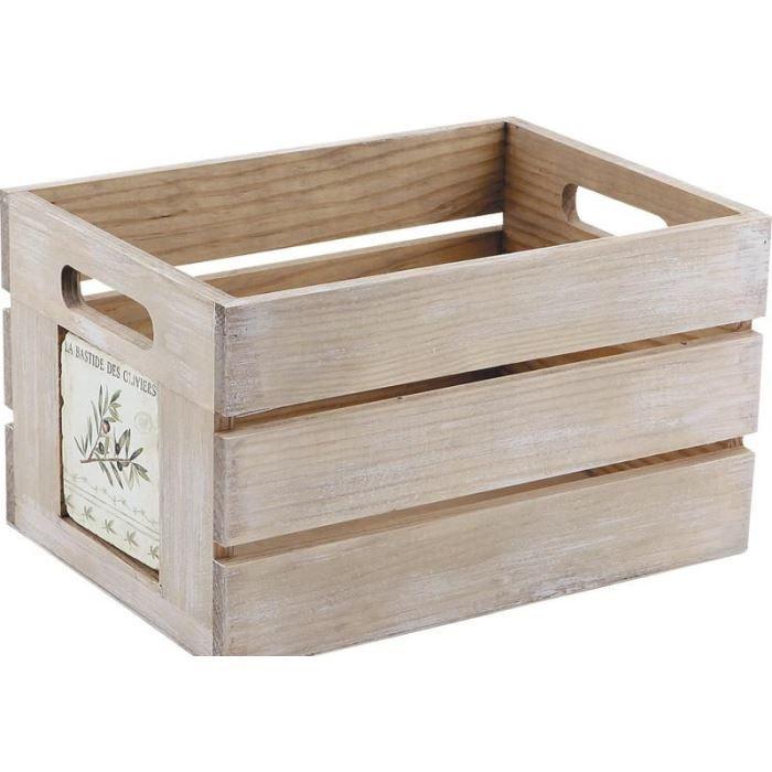 caisse de rangement provence en bois 28x20x16cm achat vente boite de rangement bois french. Black Bedroom Furniture Sets. Home Design Ideas