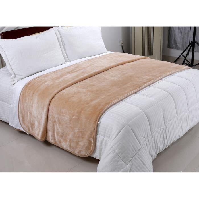 Plaid, couvre lit, couverture beige clair