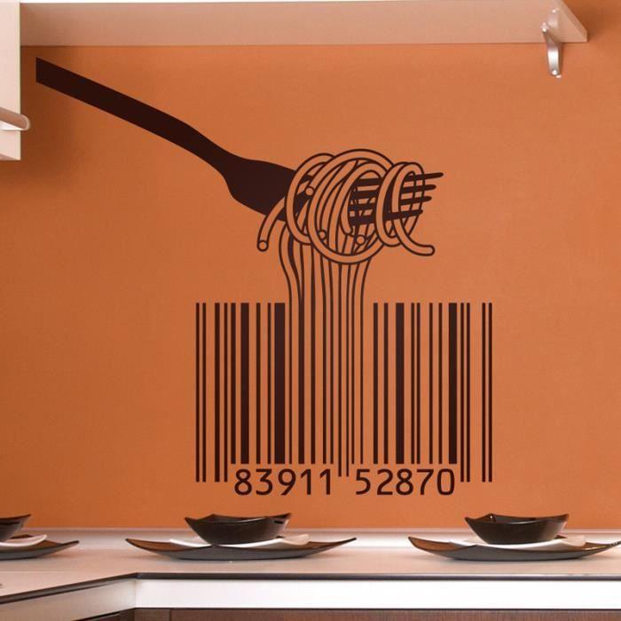 Cuisine Codes à barres et pâtes d'Italie PVC stickers muraux décor ...