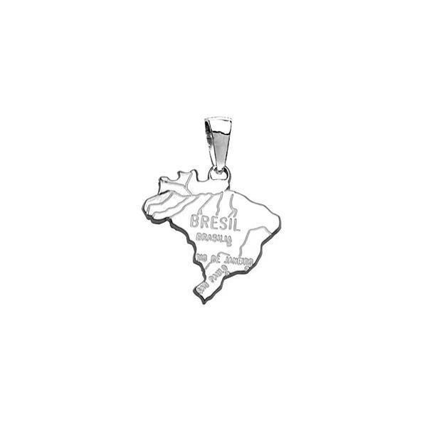 Pendentif Argent 925 Carte Brésil